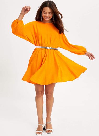 DeFacto Beli Büzgülü Elbise Oranj